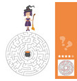 maze game for kids with witch lets help this old vector image vector image