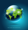 modern globe network blue background vector image vector image