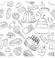 outlinrd sweets seamless pattern with hand drawn vector image vector image