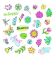 Pop art set with fashion patch badges Flowers vector image vector image