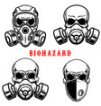 set human skull in gas mask isolated on vector image