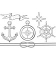 set of nautical elements steering wheel compass vector image