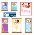 sleeping people sleepy cartoon characters vector image