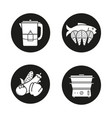 steam cooking icons set vector image