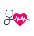 stethoscope heartbeat sign and a silhouette of vector image vector image