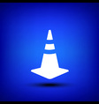 Traffic cone white on blue vector image vector image