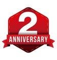 two years anniversary badge with red ribbon vector image
