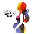 Waterolor beautiful pregnant woman vector image