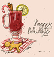 Winter with Mulled Wine cocktail vector image