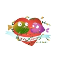 Cartoon Fish in Love with Red Heart for Kids vector image