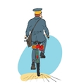 Retro postman on bike rides with sending gift vector image