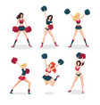 girl cheerleaders isolated on white set people vector image