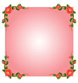 A pink empty border template with flowers vector image vector image