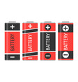 a set of four red batteries vector image