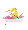 baalligator crocodile with fishing rod in boat vector image vector image