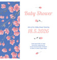 baby shower invitation card with flowers vector image