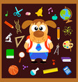 back to school seamless background with dog vector image