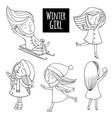 black and white set snow fun vector image vector image