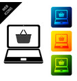 black shopping basket on screen laptop icon vector image vector image