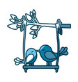 blue silhouette of tree branch with swing and vector image vector image