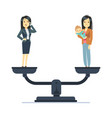 businesswoman and happy woman kid on scales work vector image vector image