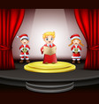 cartoon three children singing on the stage vector image