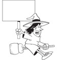 Cartoon witch holding a sign while riding a broom vector image vector image