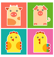 Chicken cock pig and cow vector image vector image