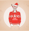 christmas hipster fashion animal giraffe vector image vector image
