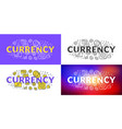 currency flat line concept for web banner and vector image