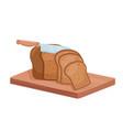 cut rye bread isometric chef knife cutting bread vector image