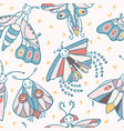 cute cartoon moth with happy smiling face and vector image