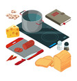 different cooking tools on the kitchen vector image