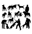 Dog and People Activity Silhouettes vector image
