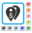 dollar bank marks framed icon vector image vector image