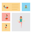 flat icon pregnancy set of sport fitness vector image vector image