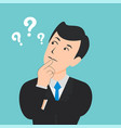 flat thinking man with question vector image