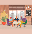 friends meeting in cafe people drinking coffee vector image vector image