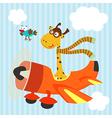 giraffe bird on airplane vector image vector image