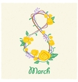 Greeting card with March 8 vector image vector image
