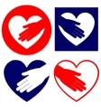 hand helping in heart collection vector image vector image