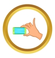 Hand holding mobile phone icon vector image vector image