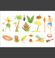 hawaiian party set hawaii symbols vector image vector image