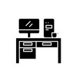 home computer desk black icon sign on vector image vector image