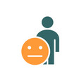 human with expressionless emotions colored icon vector image vector image