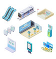 isometric metro elements subway train station vector image vector image