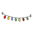 light bulbs holiday garland doodle vector image vector image
