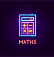maths neon label vector image