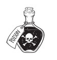 poison in bottle line art and dot work hand drawn vector image vector image