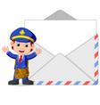 postman cartoon with big letter vector image vector image